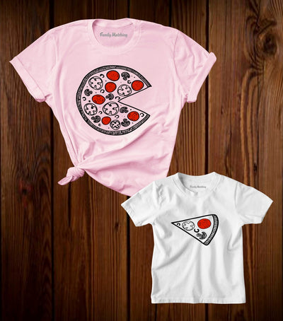 Pizza And Pizza Slice Matching T Shirt