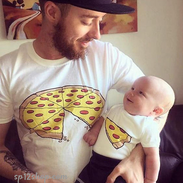 Pizza T Shirt Dad and Baby Matching Outfit - Daddy Son Father Daughter