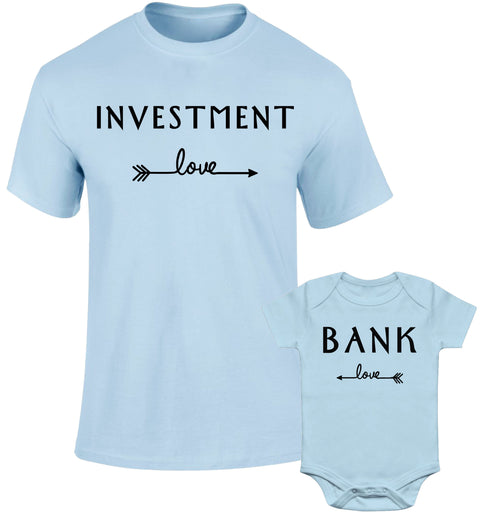 Father Daddy Daughter Dad Son Matching T shirts Investment Bank Love Arrow