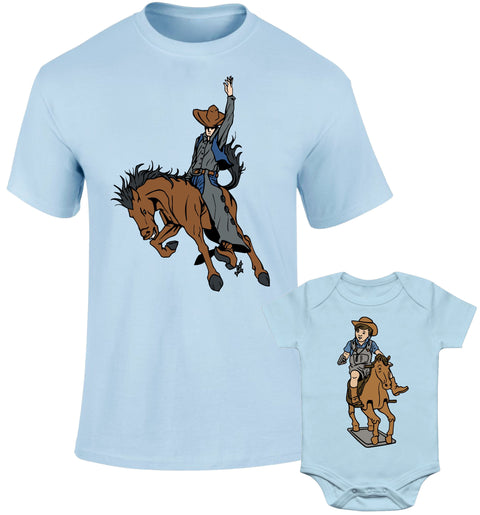 Father Daddy Daughter Dad Son Matching T shirts Big Little Cowboys Horse