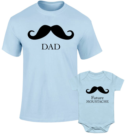 Father Daddy Daughter Dad Son Matching T shirts Mustache