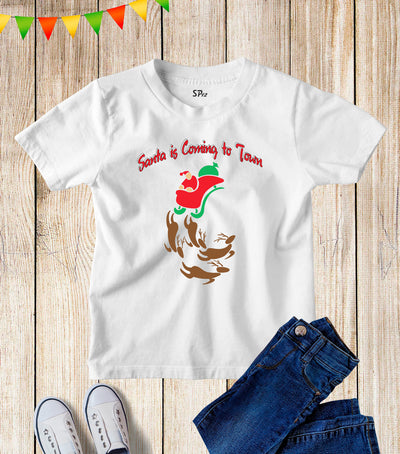 Santa Claus Is Coming To Town Kids T Shirt