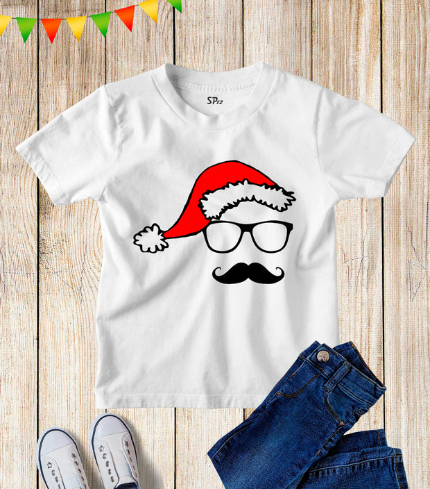 Santa Claus Mustache Christmas Kids T Shirt
