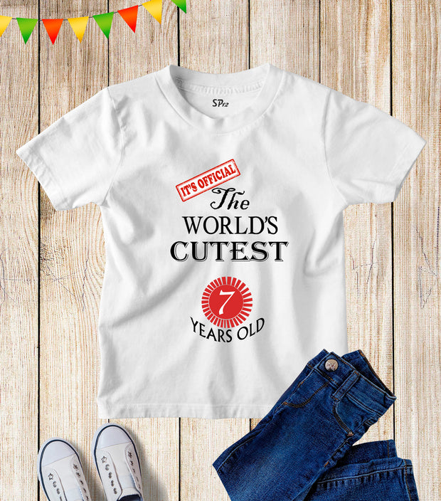 Seven Years Old Kids Birthday T Shirt