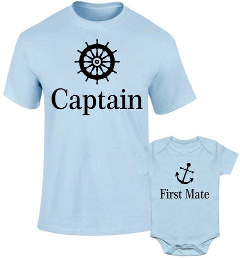 Father Daddy Daughter Dad Son Matching T shirts Sailor Captain First Mate