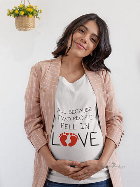 Two People Fall In Love Baby Footprint Pregnancy T Shirt