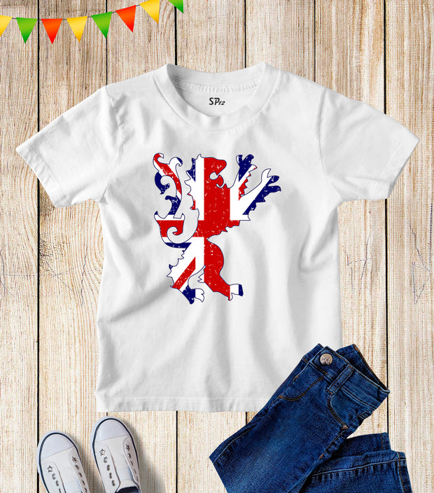 Union Flag Lion Kids T Shirt