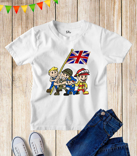 Union Flag UK British Unity Kids T Shirt