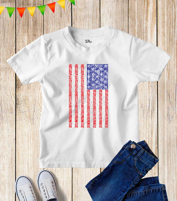 USA Flag Kids T Shirt