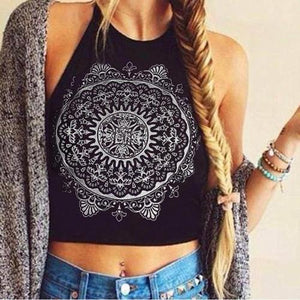 White/Black Mandala Cropped Halter Top - Whole Body Source
