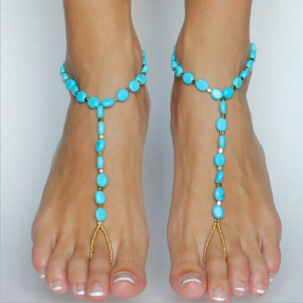 Turquoise Bead Anklet - Whole Body Source
