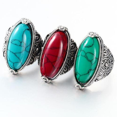 Vintage Look Tibetan Calaite Ring - 5 Color Choices - Whole Body Source