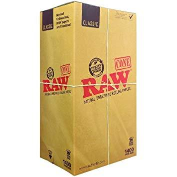 RAW 109mm King Size Unbleached Pre Rolled Paper Cones 1400/Box