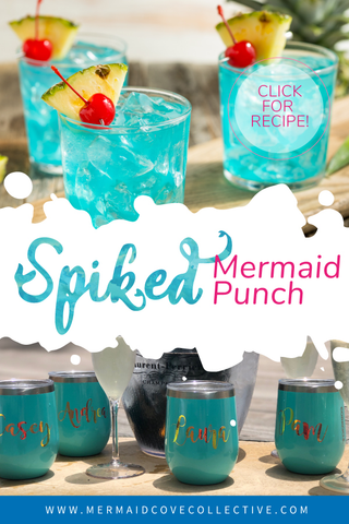Spiked Mermaid Punch Chilled in a Personalized Corkcicle Stemless Wine Tumbler