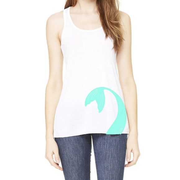 Mermaid Elle Tail Turquoise Flowy Racer Tank Adult