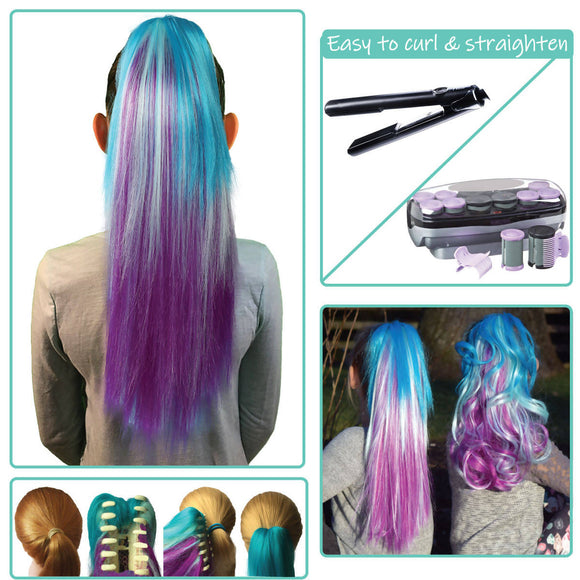 Ombre Mermaid-Colored clip on hair extension ponytail that you can curl & straighten
