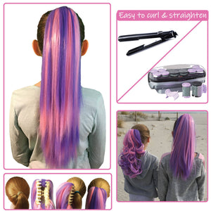 Bubble Gum...Colored clip on hair extension ponytail that you can curl & straighten