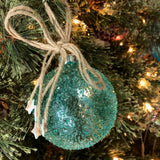Frosted Glass Ornament with Star Dangles