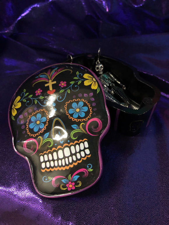 Sugar Skull Jewelry Box with Mermaid Skeleton Earrings