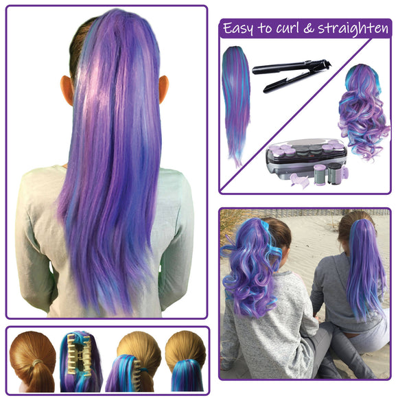 Blue Raspberry...Colored clip on hair extension ponytail that you can curl & straighten