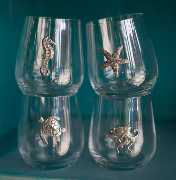 Menagerie Sea Creature Stemless Wine Glasses