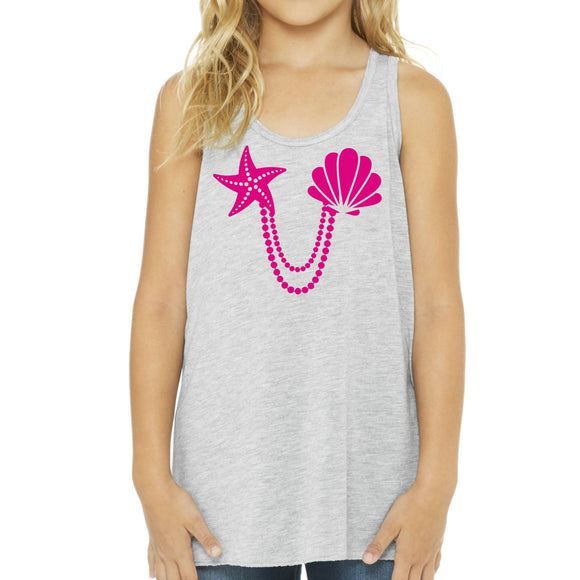 Mermaid Elle Pink Shells Youth Tank