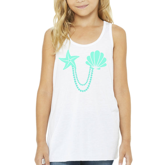 Mermaid Elle Turquoise Shells Youth Tank