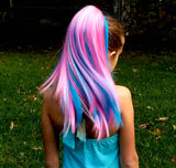 Cotton Candy...Colored clip on hair extension ponytail that you can curl & straighten