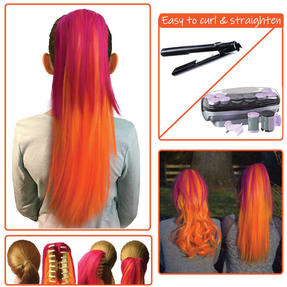 Ombre Fire...Colored clip on hair extension ponytail that you can curl & straighten