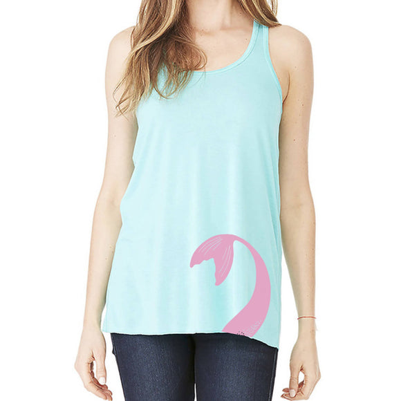 Mermaid Elle Tail Pink Flowy Racer Tank Adult