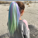 Unicorn...Colored clip on hair extension ponytail that you can curl & straighten