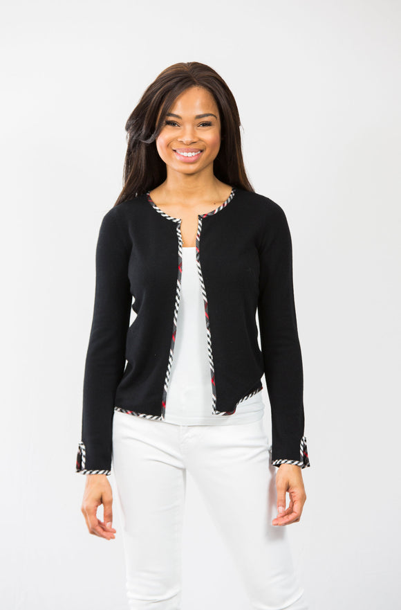 Colleen Cropped Cardigan: Black/Black Plaid