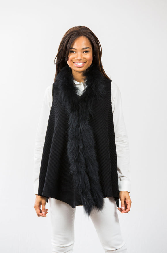 Hope Fur Trim Vest: Black/Black Fur