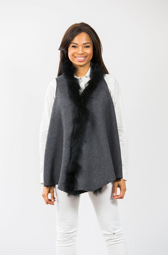 Hope Fur Trim Vest: Charcoal/Black Fur