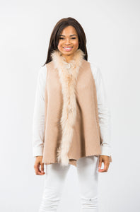Hope Fur Trim Vest: Tan/Tan Fur