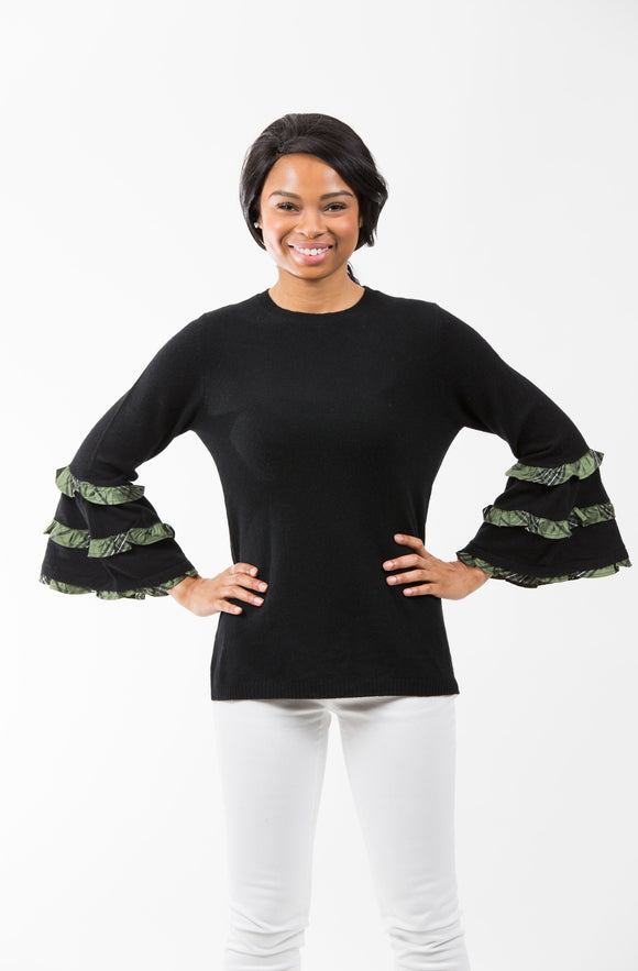 Plaid Bell Sleeve | Black/Green Silk Plaid