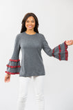 Plaid Bell Sleeve: Charcoal/Red Plaid
