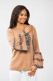 Plaid Bell Sleeve: Tan/Green Plaid