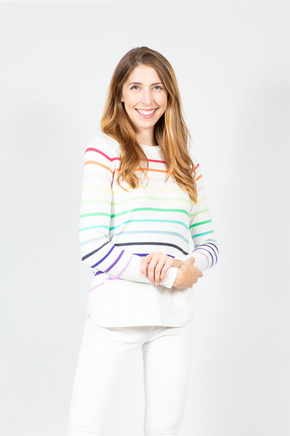 Cotton Rainbow Stripe | Ivory