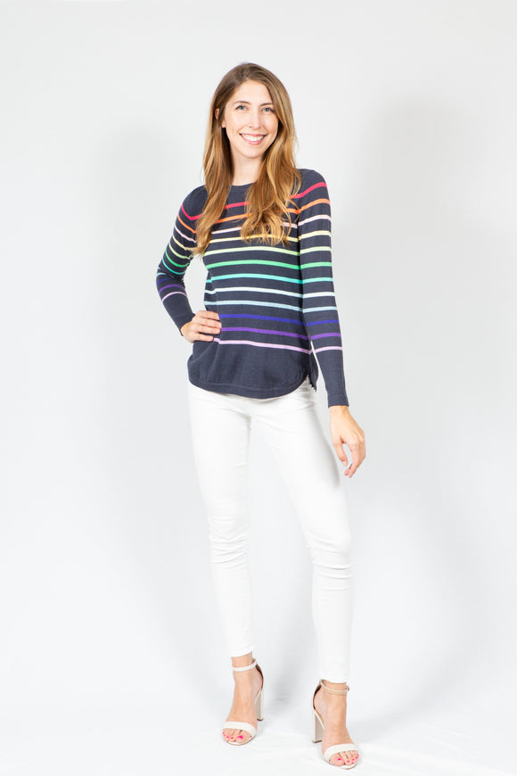 Cotton Rainbow Stripe | Navy