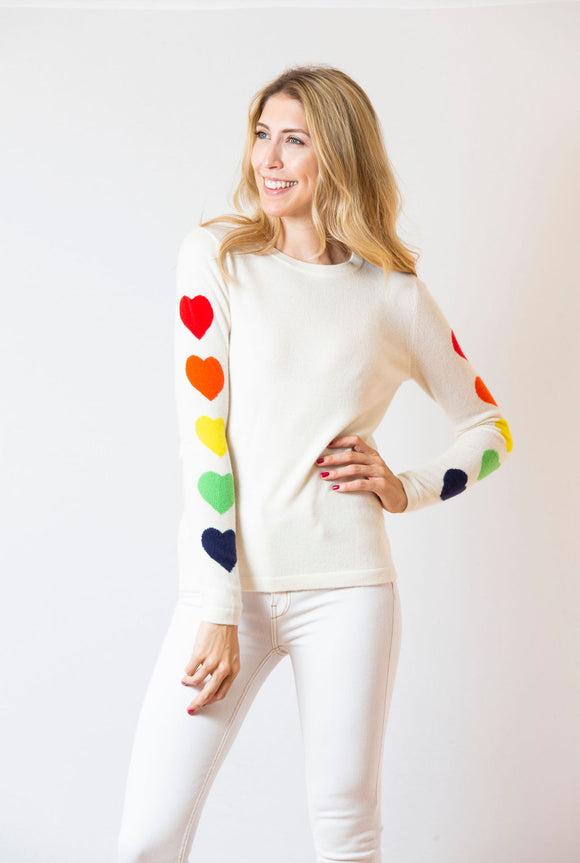 Heart Sleeve | Ivory & Rainbow