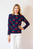 Cherry Print Sweater | Navy & Red