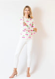 Cherry Print Sweater | Ivory & Day Glow