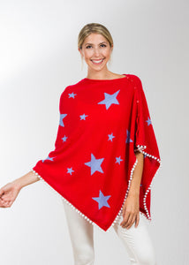 Star Topper | Red Topper / Denim Stars & White Pom Pom Trim