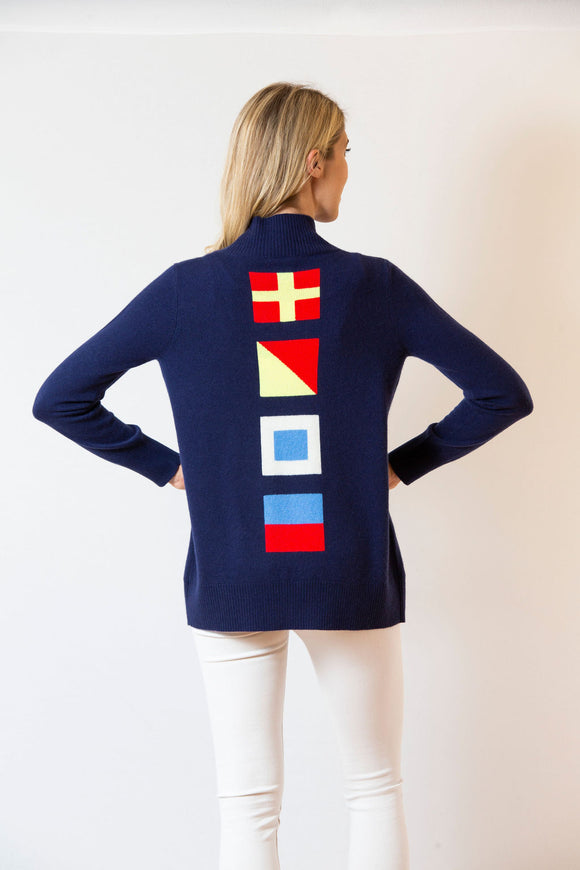 Nautical Flag Cardigan | Navy & Multi