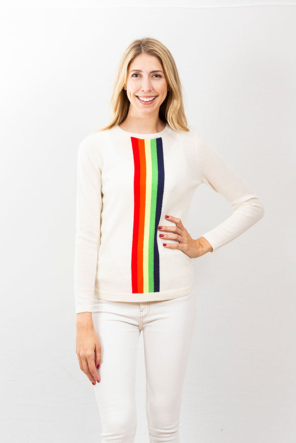 Racing Stripe Crew | Ivory Rainbow