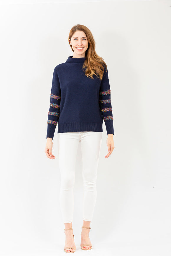 Metallic Stripe Funnel Neck | Navy & Multi