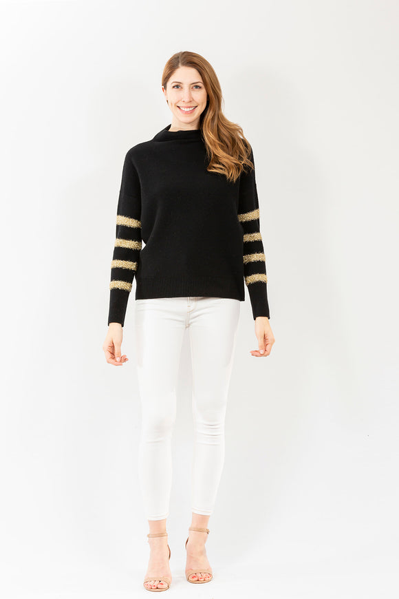 Metallic Stripe Funnel Neck | Black & Gold