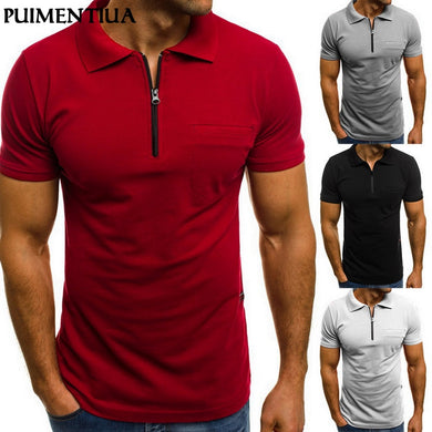 Puimentiua Brand Clothing Men Muscle Zipper Short Sleeve Shirt