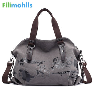 Women's Shoulder Vintage Graffiti Canvas Handbags